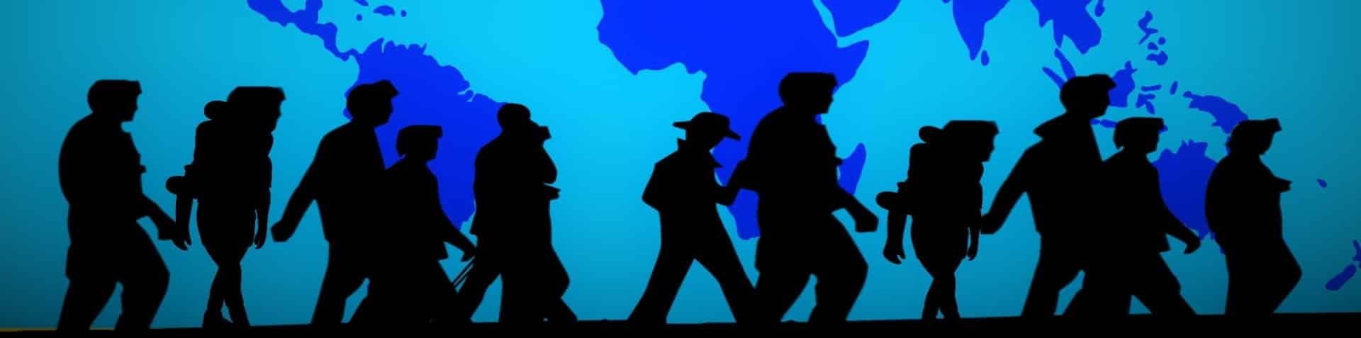 Rechtsanwalt Asylrecht: Grafik zeigt Menschen auf der Flucht