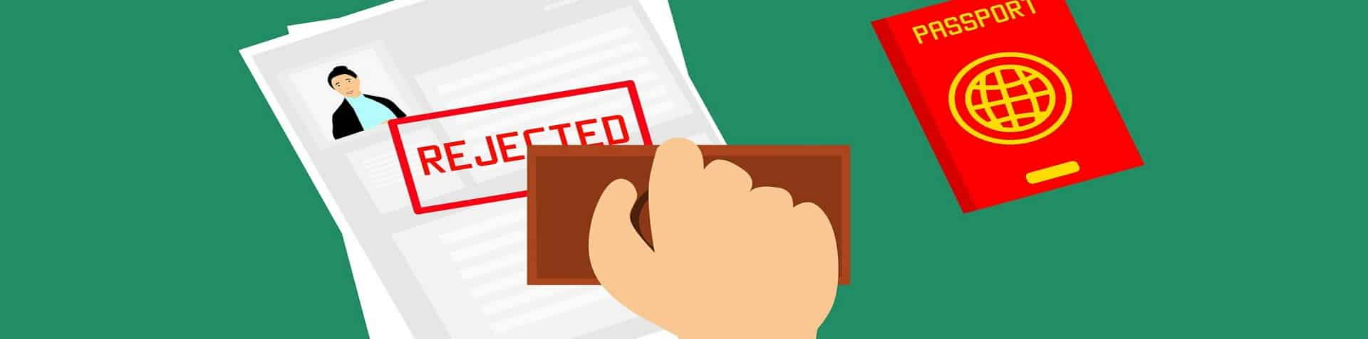 Rechtsanwalt Visum Grafik Stempel abgelehnt
